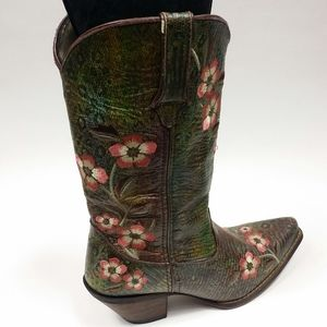 """Durango 8.5 Floral Embroidered Cowgirl Boots 12"""""""